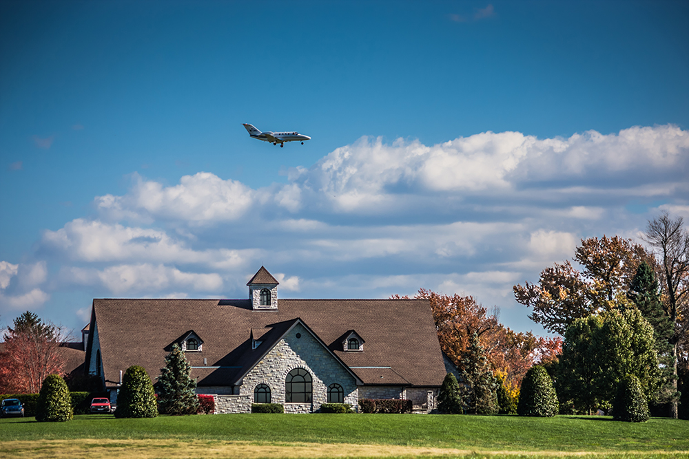 flying over Keeneland